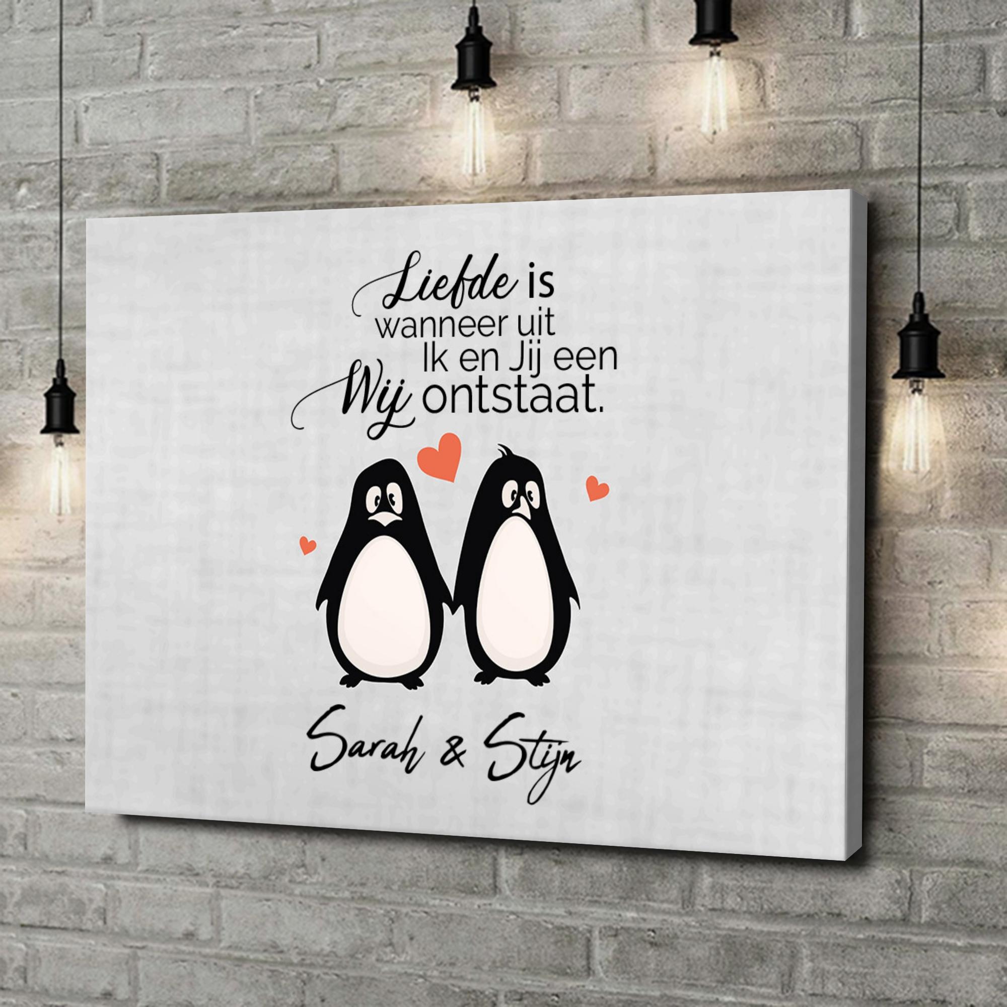 Gepersonaliseerde canvas print Stel Pinguins