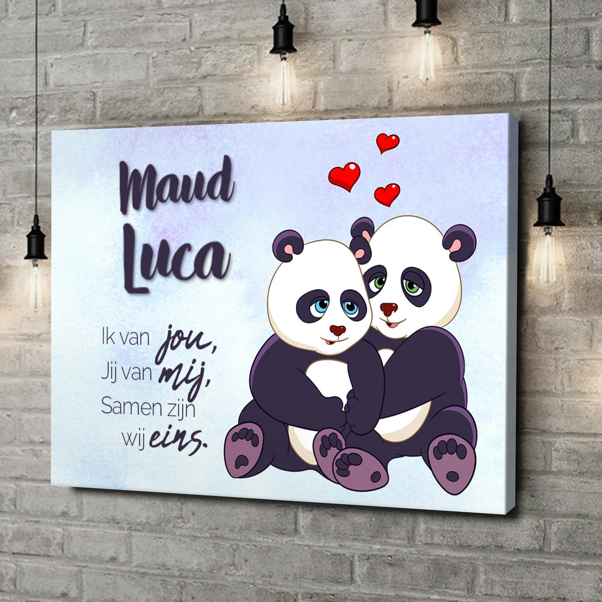 Gepersonaliseerde canvas print Panda's