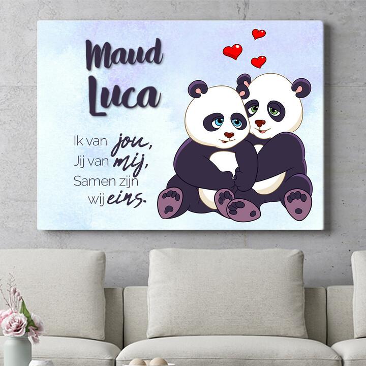 Personaliseerbaar cadeau Panda's