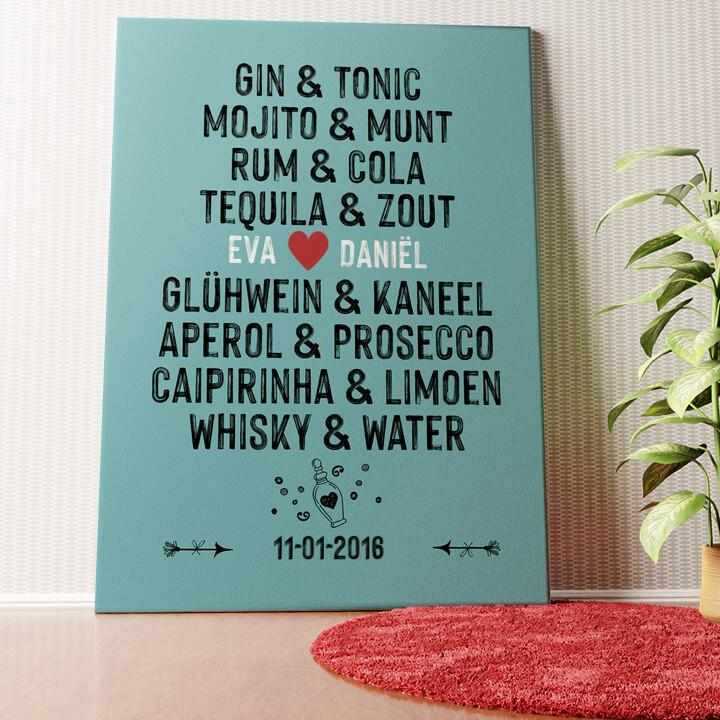 Gepersonaliseerde muurschildering Jij & Ik - drankjes