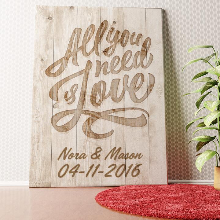 Gepersonaliseerde muurschildering Liefde is Alles wat je Nodig hebt