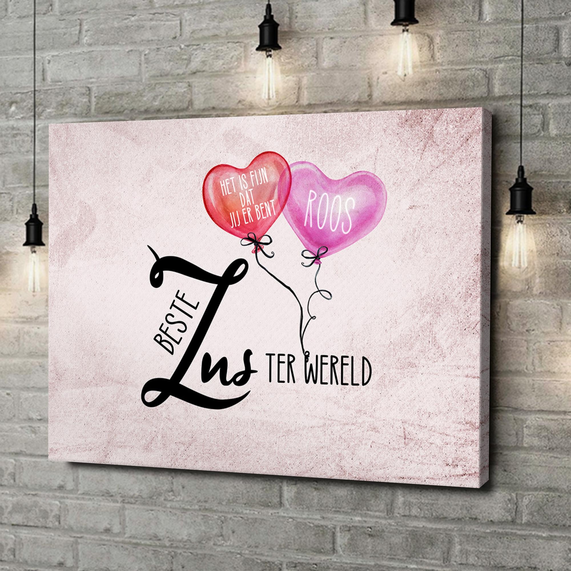 Gepersonaliseerde canvas print Beste zus van de Wereld