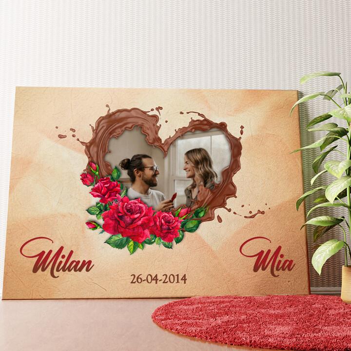 Gepersonaliseerde muurschildering Onze chocolade-kant