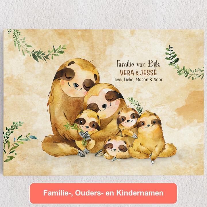 Gepersonaliseerde Canvas Luiaard gezin