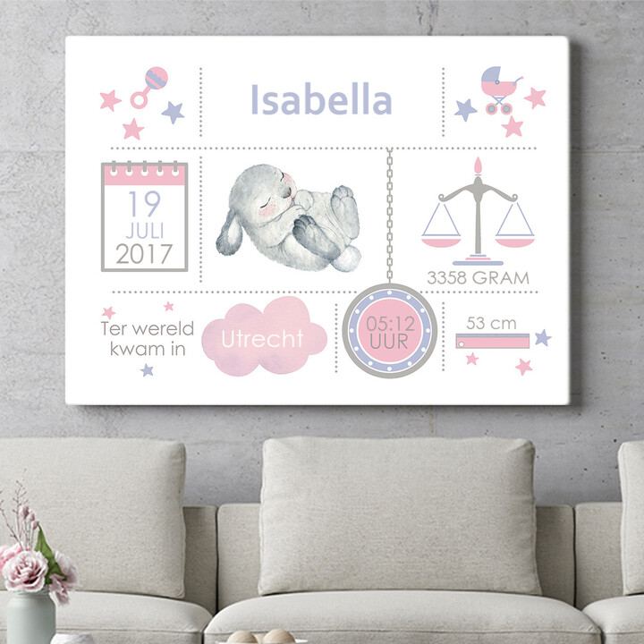Personaliseerbaar cadeau Baby canvas konijn