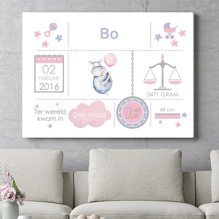 Personaliseerbaar cadeau Baby canvas nijlpaard