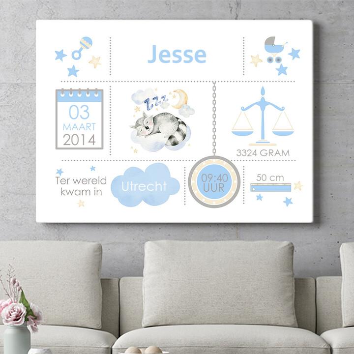 Personaliseerbaar cadeau Baby canvas wasbeer
