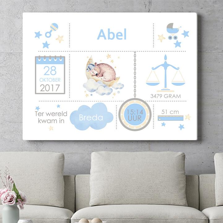 Personaliseerbaar cadeau Baby canvas beer