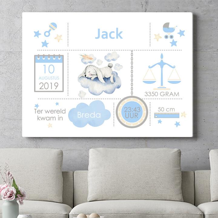 Personaliseerbaar cadeau Baby canvas konijntje op wolk