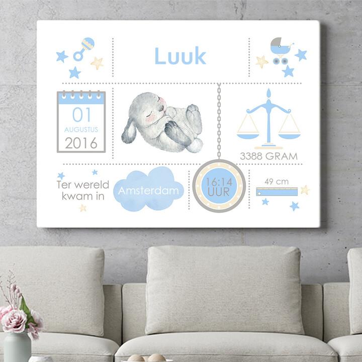 Personaliseerbaar cadeau Baby canvas konijntje slaapt