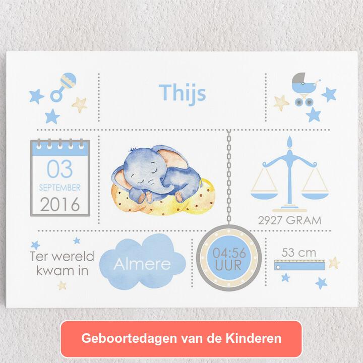 Gepersonaliseerde Canvas Baby canvas olifant droomt