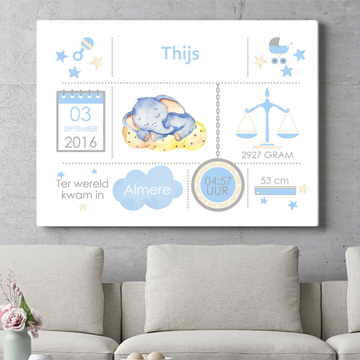 Personaliseerbaar cadeau Baby canvas olifant droomt