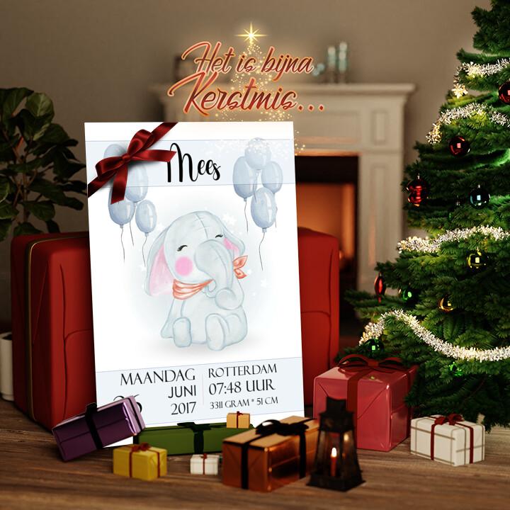 Canvas Cadeau Canvas voor de geboorte olifant