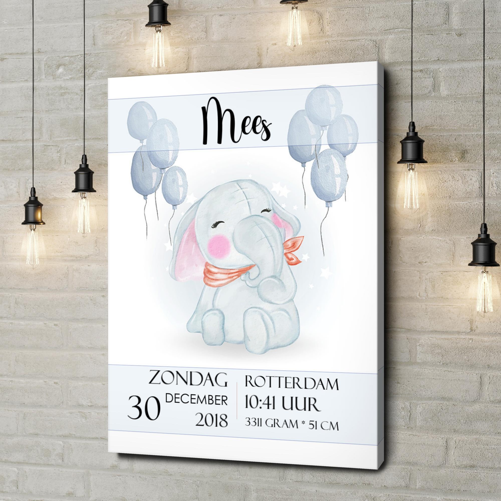 Gepersonaliseerde canvas print Canvas voor de geboorte olifant