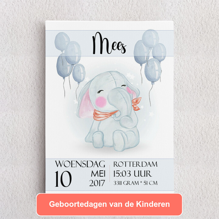 Gepersonaliseerde Canvas Canvas voor de geboorte olifant