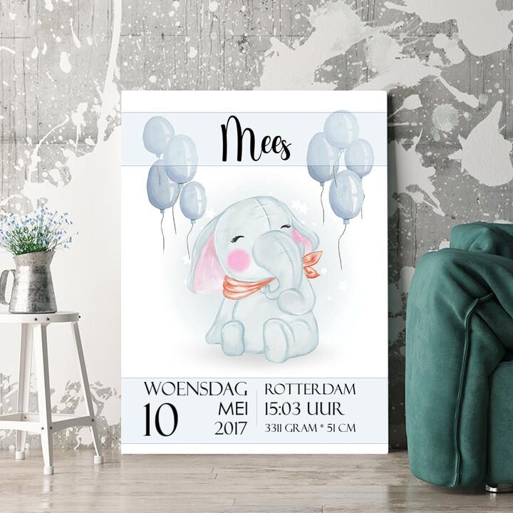Personaliseerbaar cadeau Canvas voor de geboorte olifant