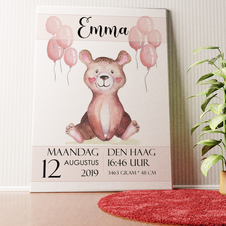 Gepersonaliseerde muurschildering Canvas voor geboorte teddybeer