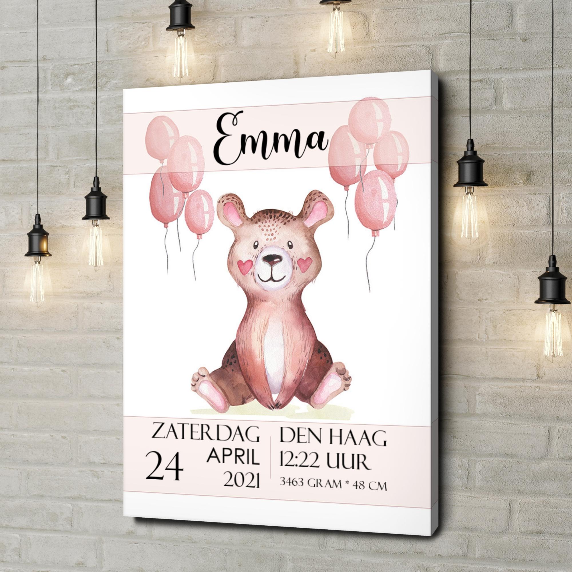 Gepersonaliseerde canvas print Canvas voor geboorte teddybeer