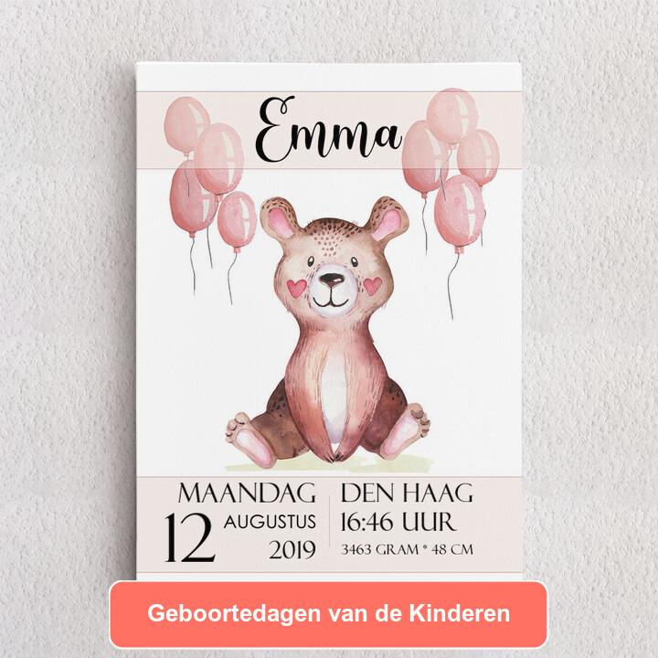 Gepersonaliseerde Canvas Canvas voor geboorte teddybeer