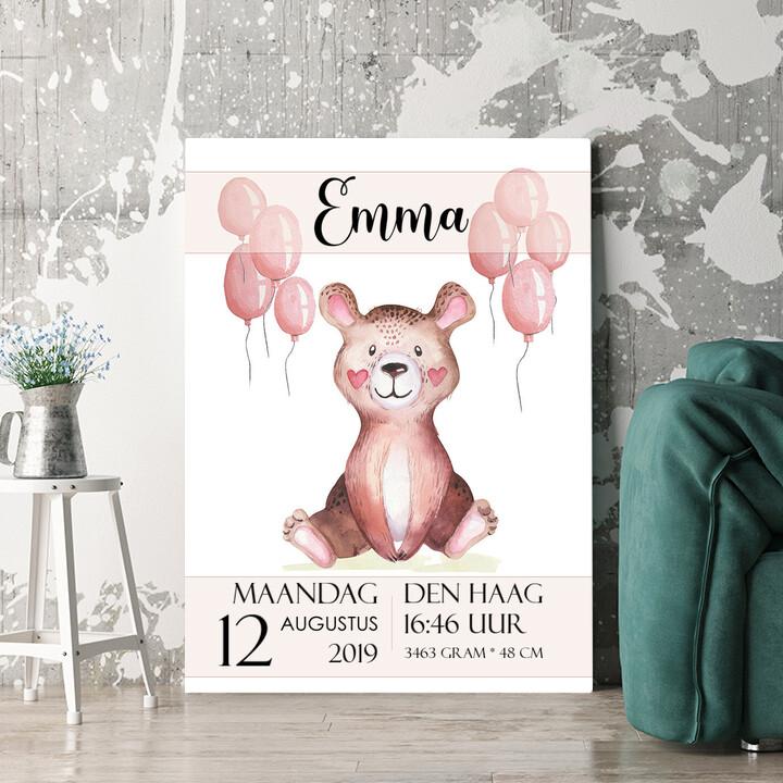 Personaliseerbaar cadeau Canvas voor geboorte teddybeer