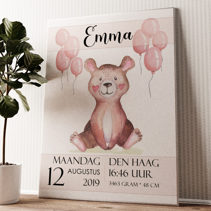 Canvas voor geboorte teddybeer Gepersonaliseerde muurschildering