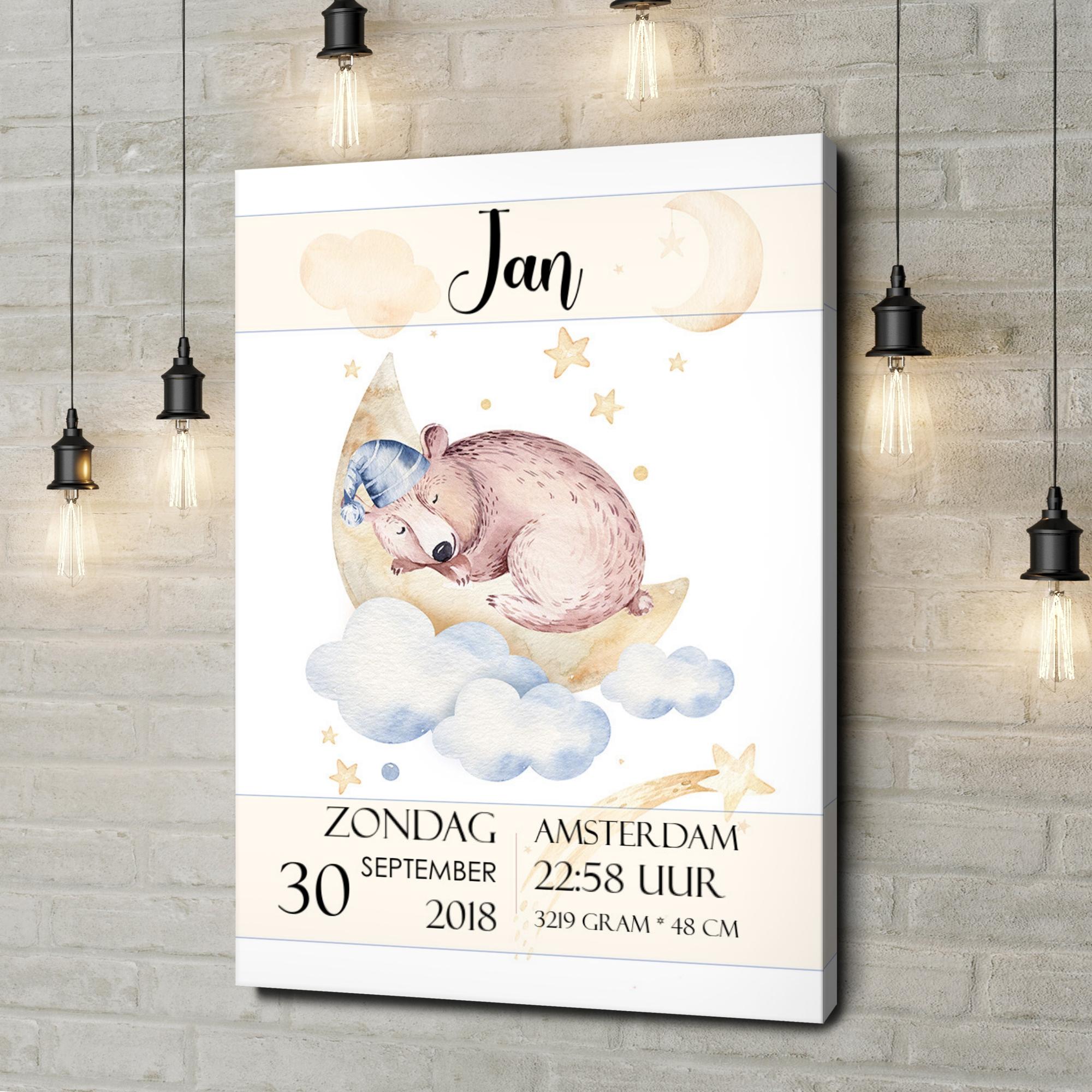 Gepersonaliseerde canvas print Canvas voor geboorte beer droomt