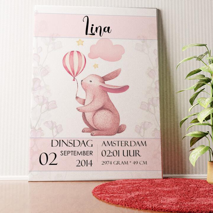 Gepersonaliseerde muurschildering Canvas voor geboorte konijn met ballon
