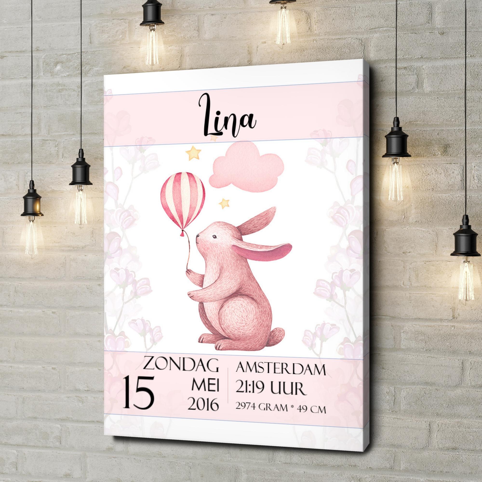 Gepersonaliseerde canvas print Canvas voor geboorte konijn met ballon