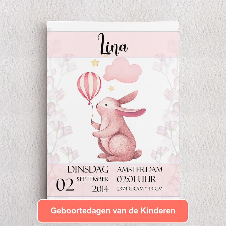 Gepersonaliseerde Canvas Canvas voor geboorte konijn met ballon