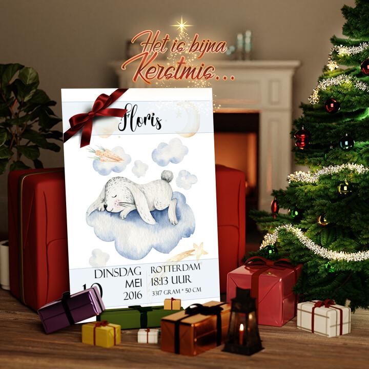 Canvas Cadeau Canvas voor geboorte konijn dromen