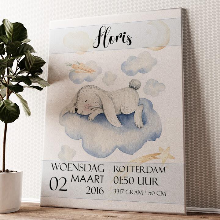 Canvas voor geboorte konijn dromen Gepersonaliseerde muurschildering