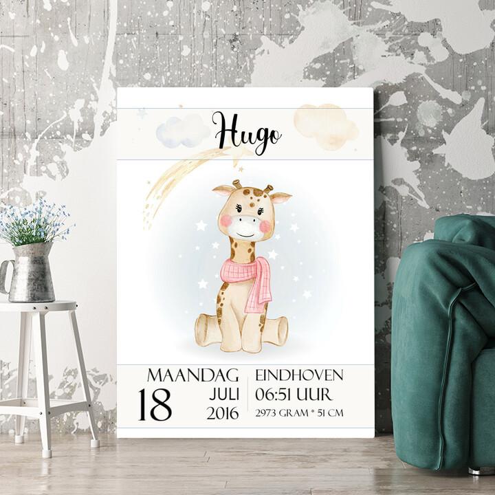 Personaliseerbaar cadeau Canvas voor geboorte giraf
