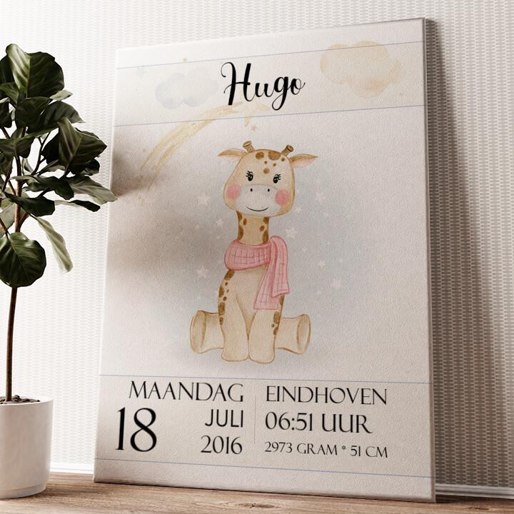Canvas voor geboorte giraf Gepersonaliseerde muurschildering