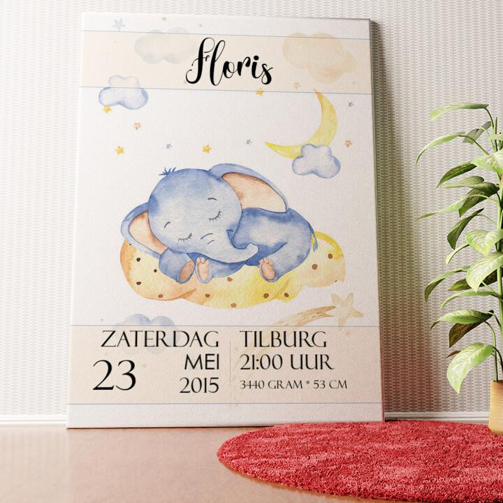 Gepersonaliseerde muurschildering Canvas voor geboorte olifant droomt