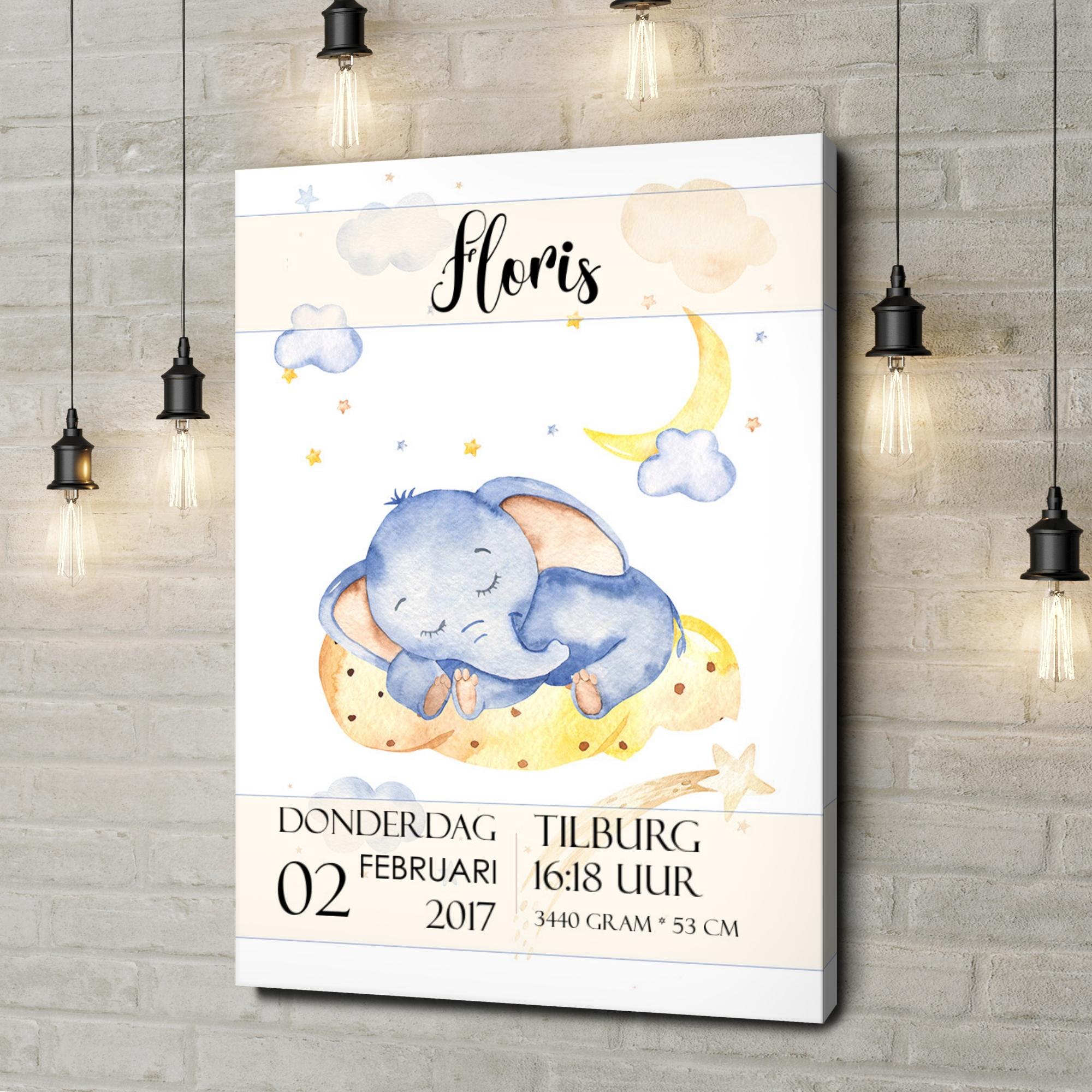 Gepersonaliseerde canvas print Canvas voor geboorte olifant droomt