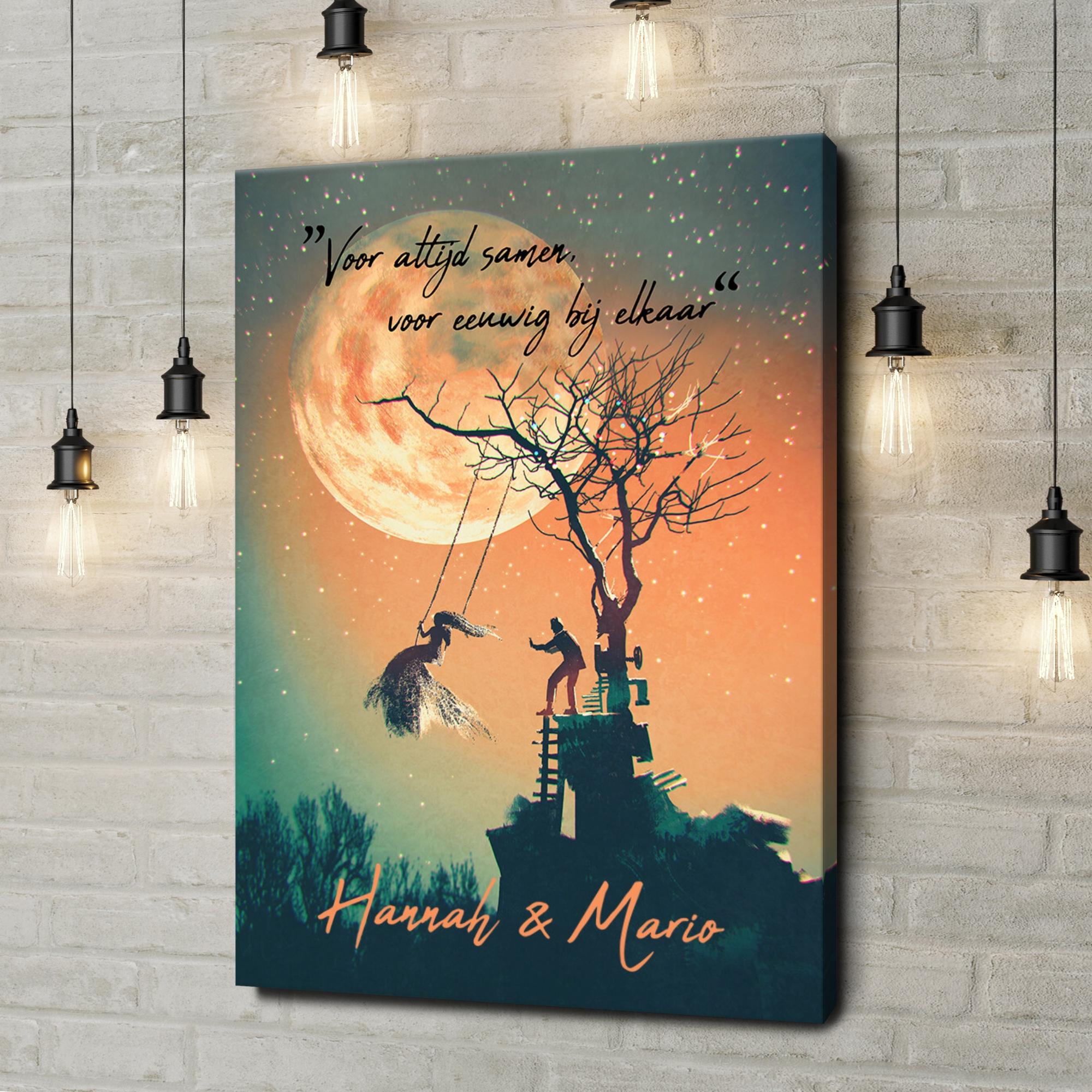 Gepersonaliseerde canvas print Onder de Maan