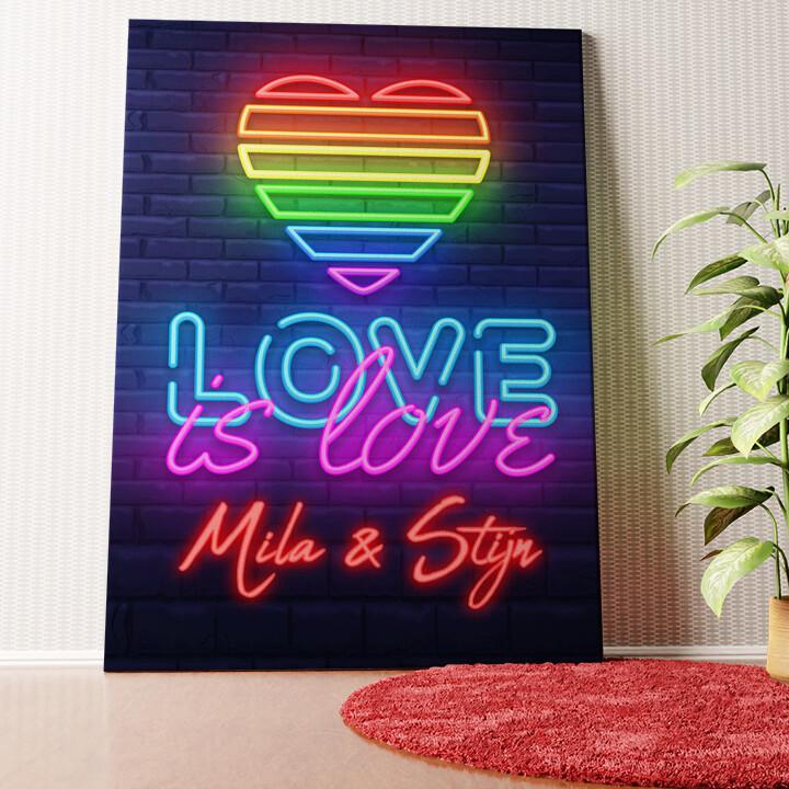Gepersonaliseerde muurschildering Liefde is Liefde