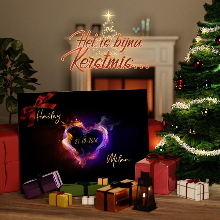 Canvas Cadeau Brandende Harten