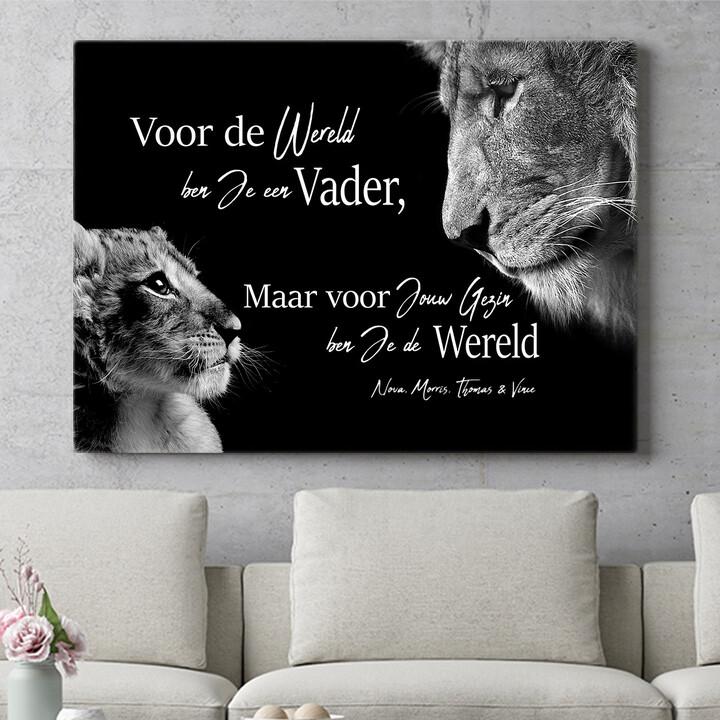 Personaliseerbaar cadeau Leeuwenvader (liggend formaat)