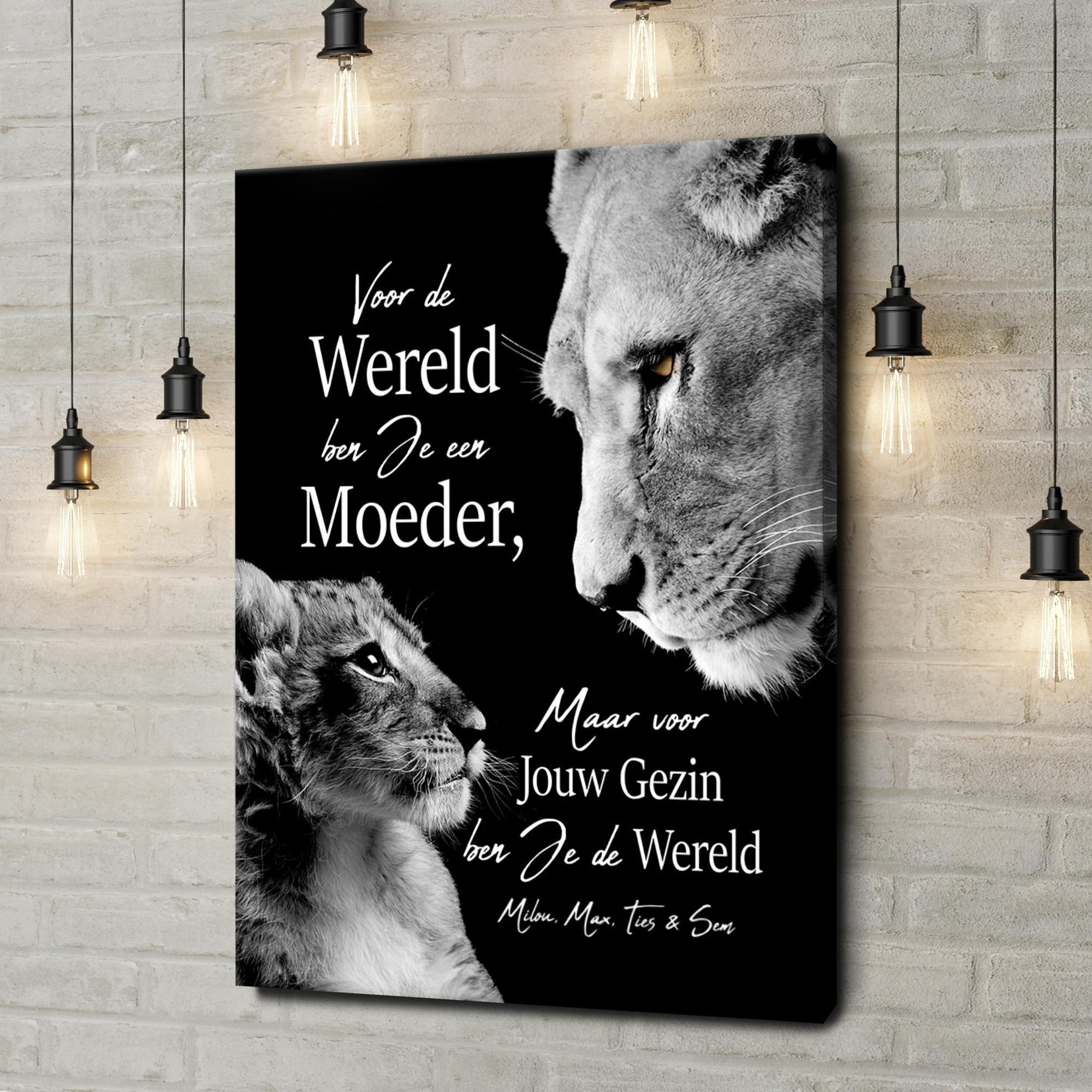 Gepersonaliseerde canvas print Leeuwenmoeder