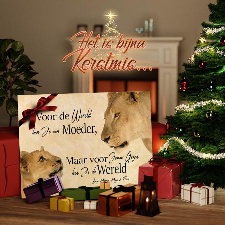 Canvas Cadeau Leeuwen moeder 2 (liggend formaat)