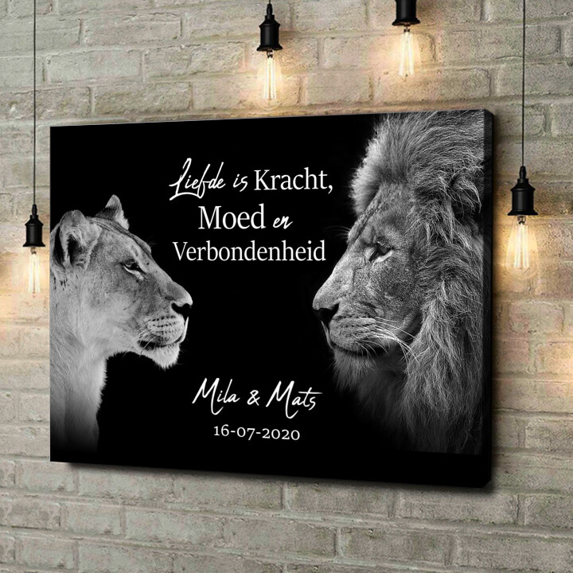 Gepersonaliseerde canvas print Koning & Koninging (Zwart)