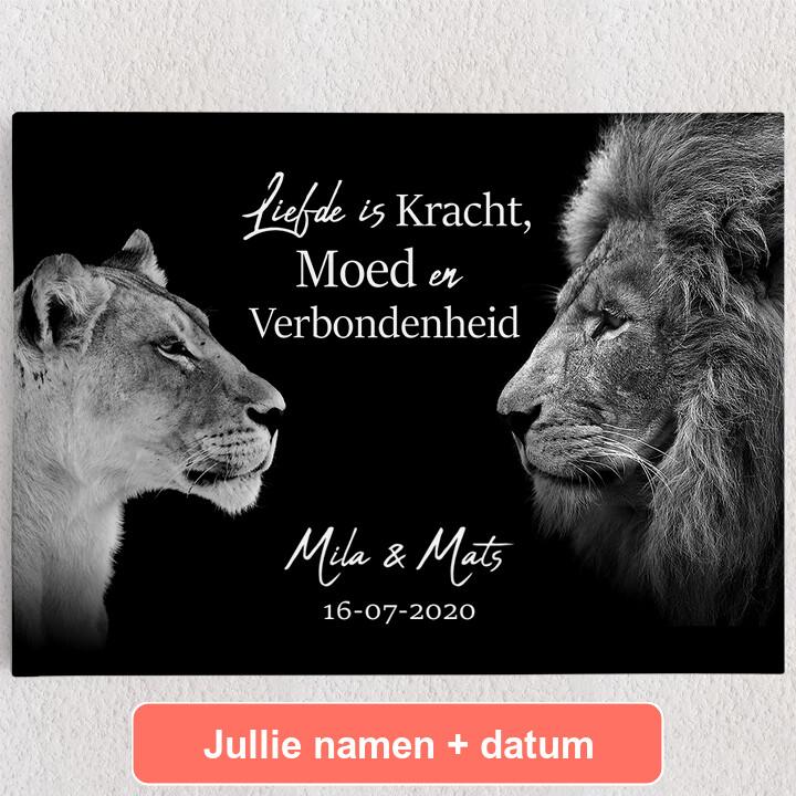 Gepersonaliseerde Canvas Koning & Koninging (Zwart)