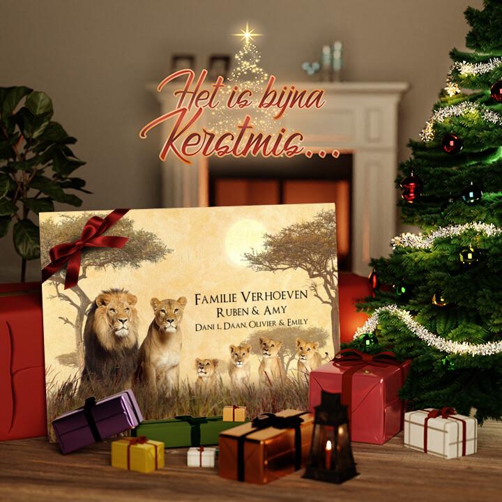 Canvas Cadeau Leeuwenfamilie