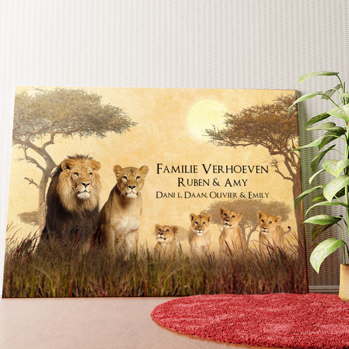 Gepersonaliseerde muurschildering Leeuwenfamilie