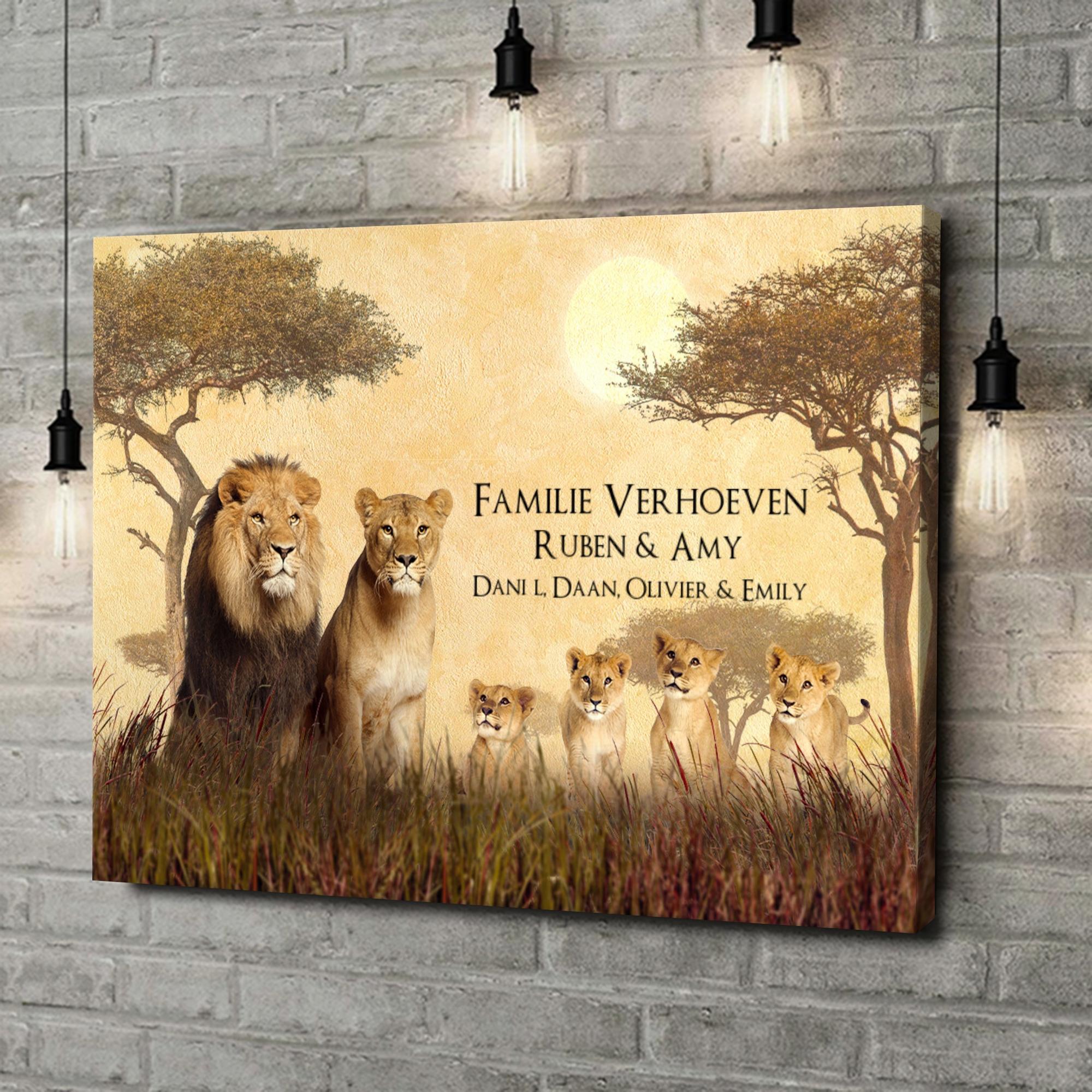 Gepersonaliseerde canvas print Leeuwenfamilie
