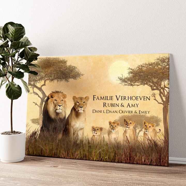 Leeuwenfamilie Gepersonaliseerde muurschildering