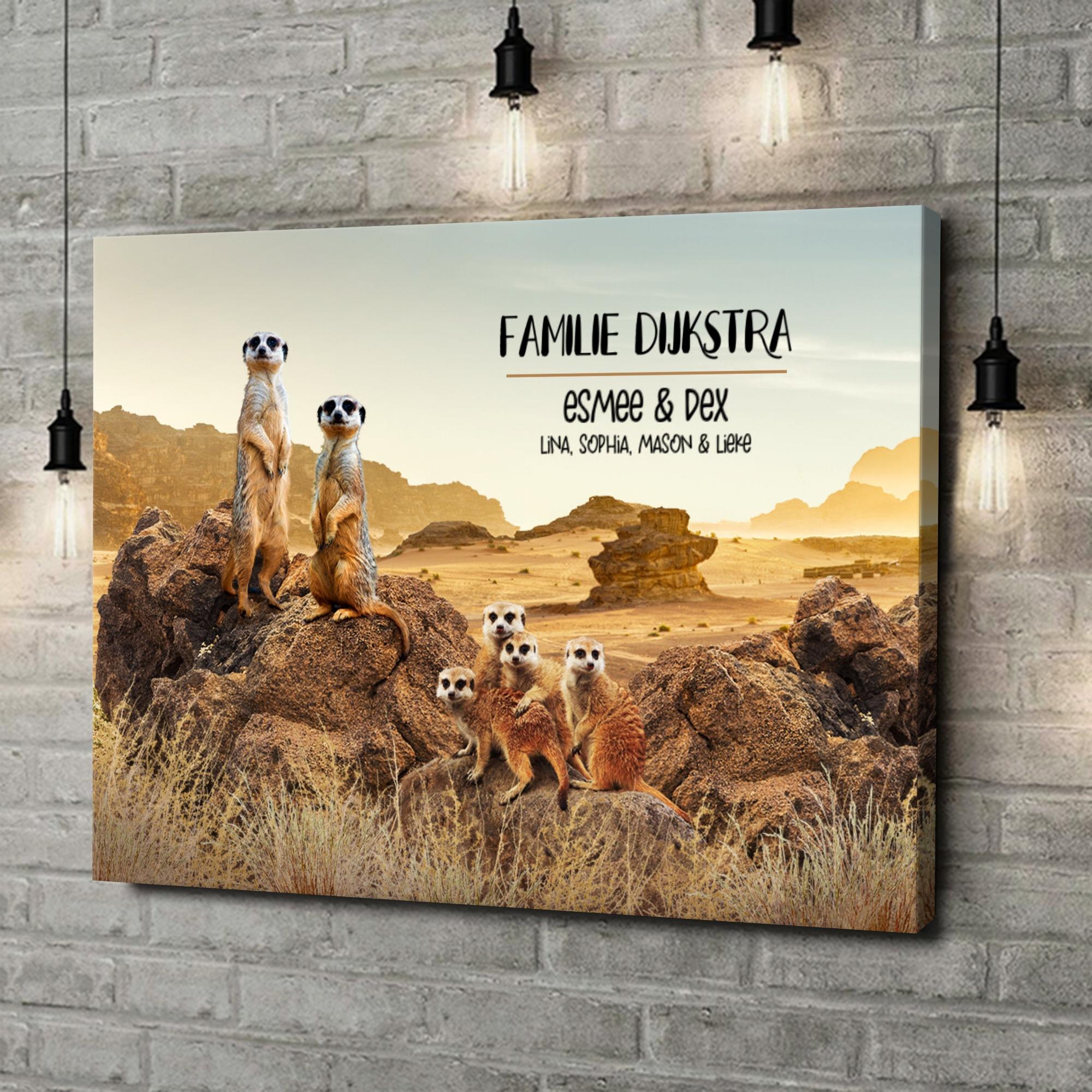 Gepersonaliseerde canvas print Meerkat familie