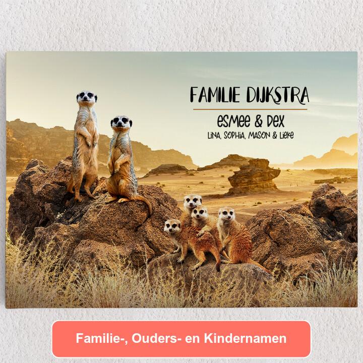 Gepersonaliseerde Canvas Meerkat familie