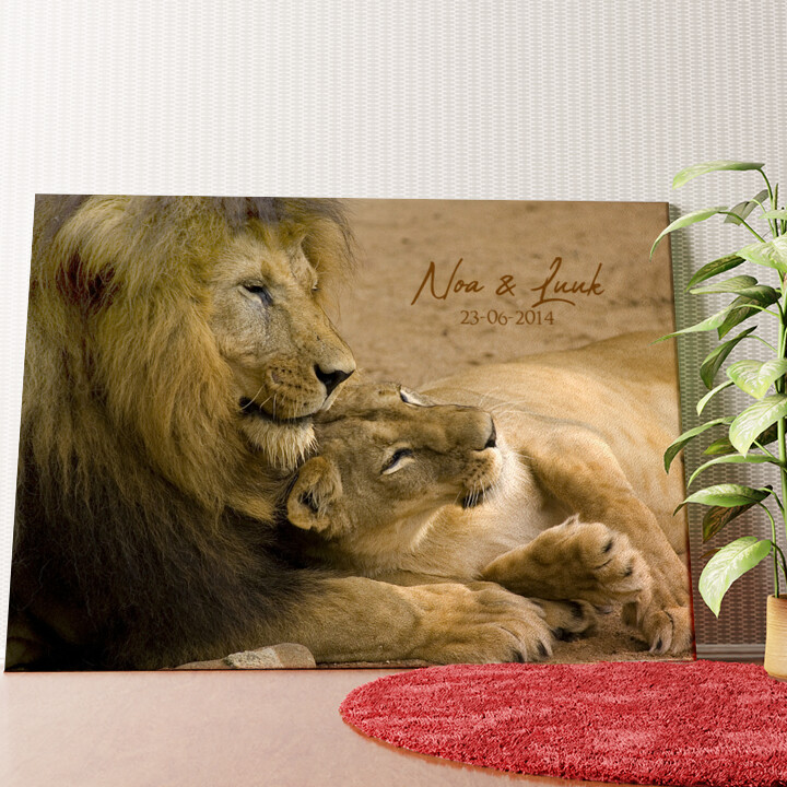 Gepersonaliseerde muurschildering Leeuwen Liefde